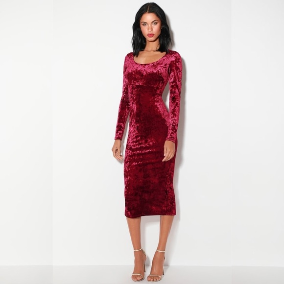 Nwot Lulus Cherish Me Wine Red Velvet Midi Dress